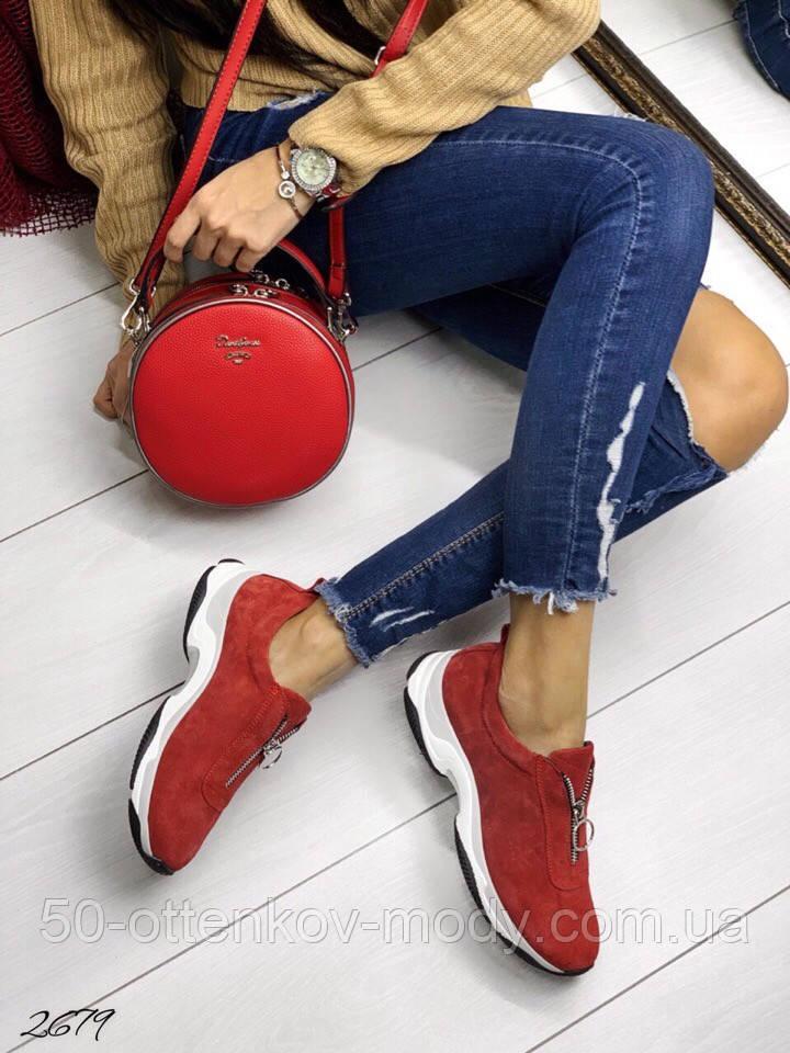 Женские кроссовки слипоны из натуральной кожи красные, белые, черные