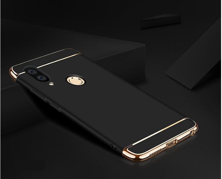 Чехол накладка с золотыми вставками для Huawei P Smart Plus Черный