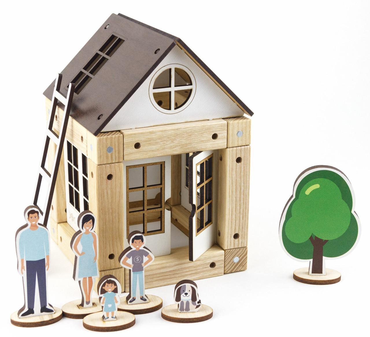 деревянный магнитный конструктор коричневый дом 44 детали украина арт 400326 продажа цена в киеве конструкторы от интернет магазин Lovely