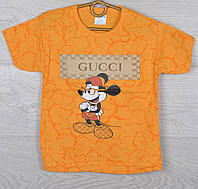 """Футболка детская """"Gucci реплика с Микки Маусом"""" для мальчиков 3-5-7-9 лет (98-134 см). Оранжевая. Оптом"""