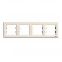 Рамка четырехместная горизонтальная кремовая Asfora Schneider electriс EPH5800423