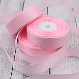 Лента репсовая шириной 25 мм нежно-розового цвета (холодный оттенок), бобина 23 метра, фото 2