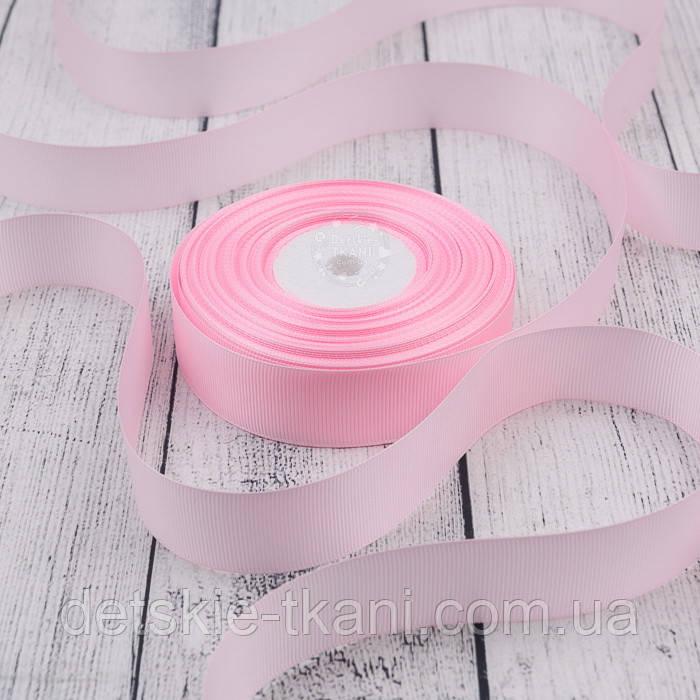 Лента репсовая шириной 25 мм нежно-розового цвета (холодный оттенок), бобина 23 метра