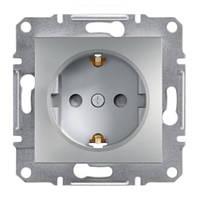 Розетка одинарная с з/к и защитными шторками алюминиевая Asfora Schneider electric EPH2900261