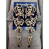 Вечірні сережки під золото з прозорими каменями, висота 9 див., фото 4