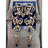 Вечірні сережки під золото з прозорими каменями, висота 9 див., фото 5