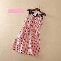 Платье летнее легкое розовое  в горошек