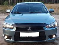 Дефлектор капота (Люкс!) мухобойка Mitsubishi Lancer X 2007-2012 короткий, SIM, SMILAN0712S
