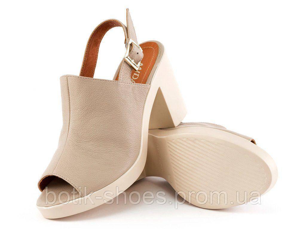 ad2c851d5 Босоножки натуральные кожаные на высоком каблуке бежевые Mida 23718 -  интернет-магазин обуви
