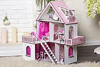 Кукольный Домик для кукол (ляльковий будинок) «Солнечная Дача» + обои +шторки + мебель + текстиль