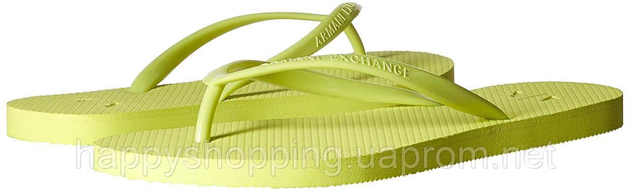 Женские оригинальные желтые вьетнамки популярного бренда Armani Excange