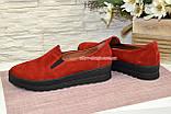 Туфли женские из натуральной замши красного цвета на утолщенной подошве, фото 2