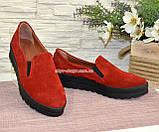 Туфли женские из натуральной замши красного цвета на утолщенной подошве, фото 3
