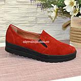 Туфли женские из натуральной замши красного цвета на утолщенной подошве, фото 4