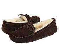 Женские зимние мокасины Ugg Dakota Slipper (угг, угги австаралия, оригинал) с мехом коричневые, фото 1