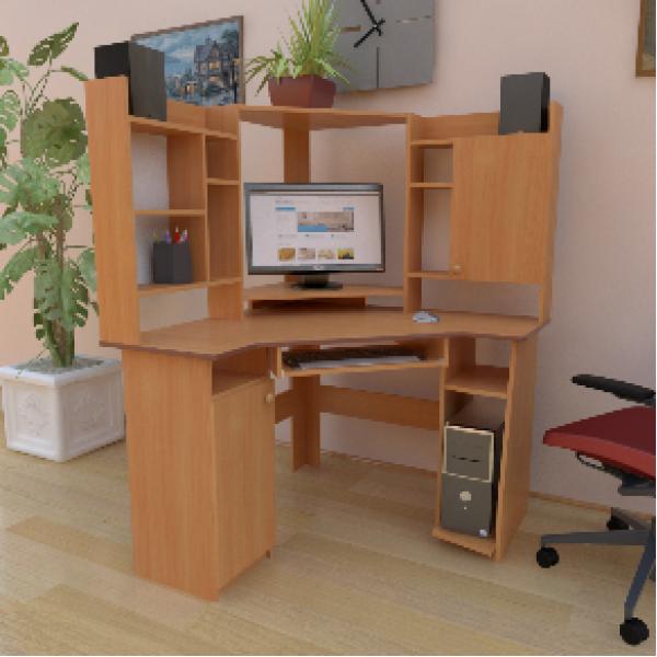 Кутовий комп'ютерний стіл з надбудовою СУ-3 від виробника
