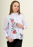 Белая батистовая блуза с вышивкой