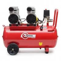 Компрессор 50 л, 2х1.1 кВт, 220 В, 8 атм, 270 л/мин, малошумный, безмасляный, 4 цилиндра INTERTOOL PT-0023