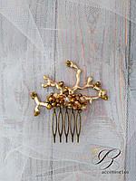 Гребешок для волос золотистый хрусталь
