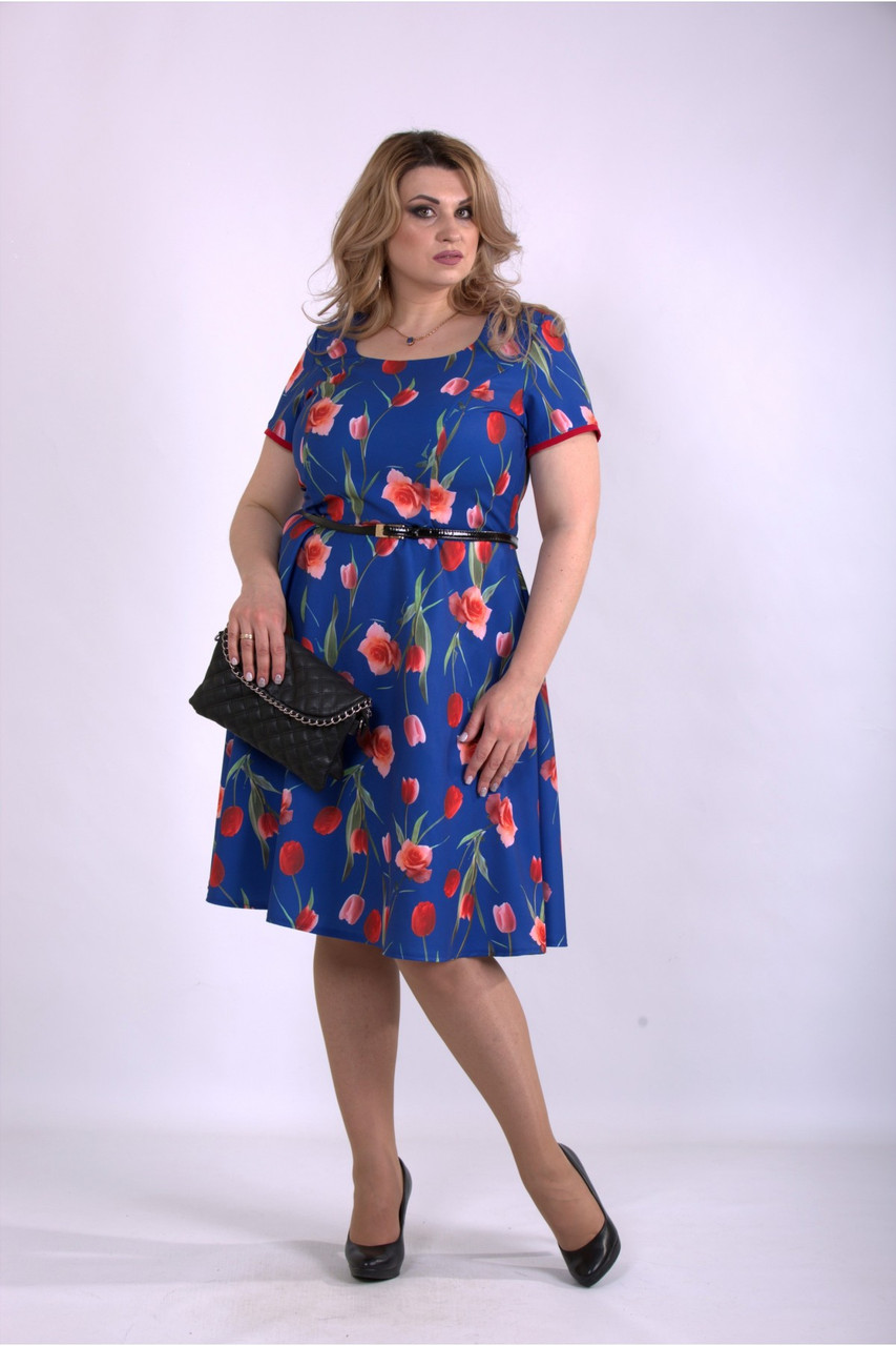 01139-2 | Синє плаття з тюльпанами великий розмір