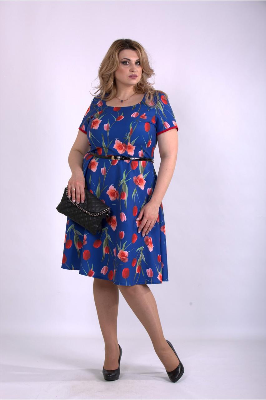 Синее платье летнее с тюльпанами большой размер 42-74. 01139-2