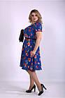 Синее платье летнее с тюльпанами большой размер 42-74. 01139-2, фото 2