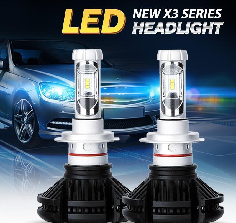 Комплект Автомобильных Ламп светодиодные X3 Lead Headlight H4 50W IP67 3000K/6500K/8000K 2 шт головной свет