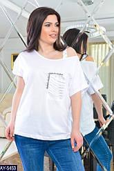 Белая женская футболка свободная 48-54