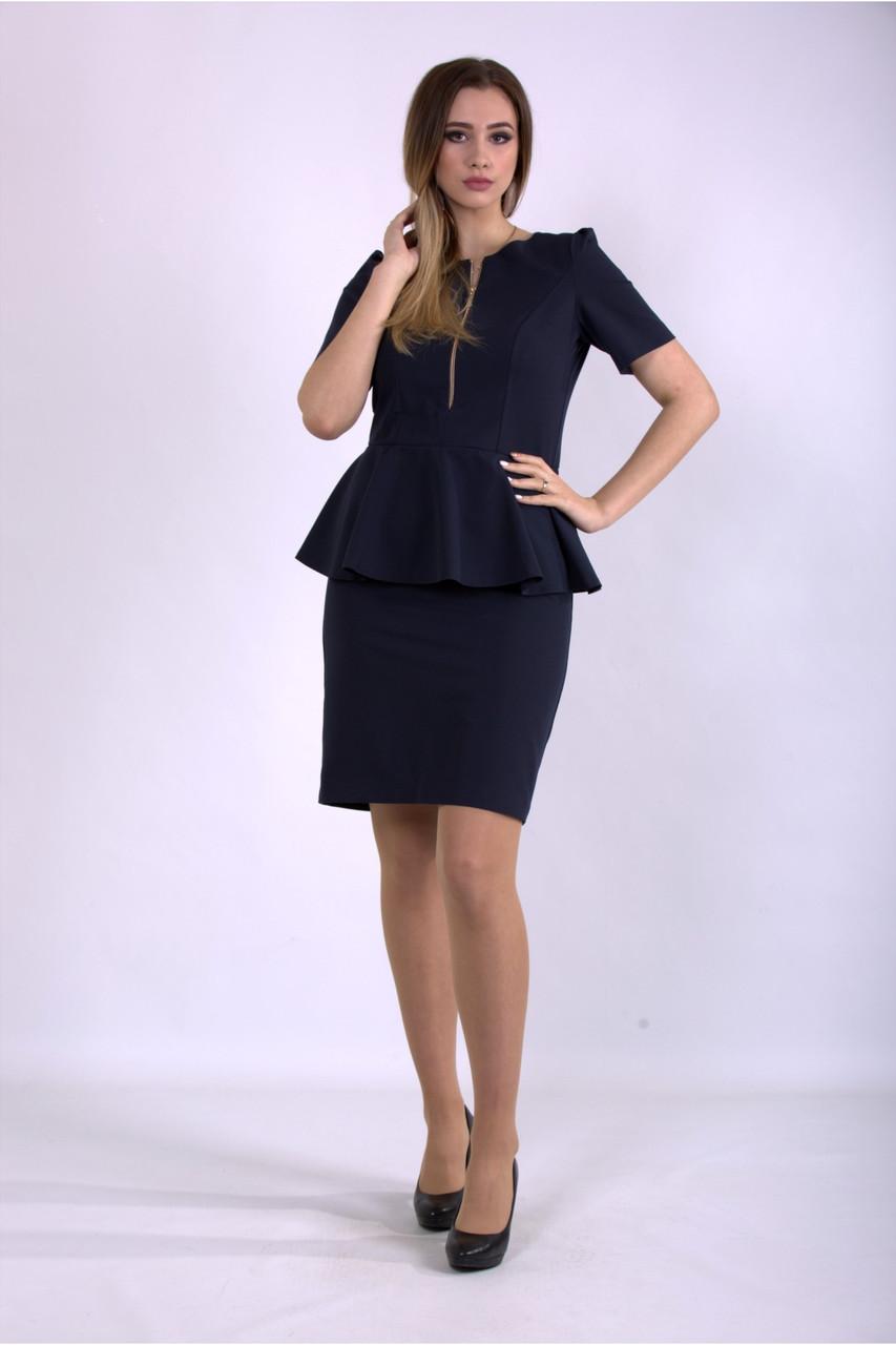 Синее платье офисное миди большой размер 42-74. 01143-1