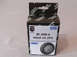 Резиновые колеса с дисками для сборной модели самолета BF 109G-6. 1/48 HALBERD MODELS 4814