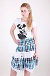 Легкая женская юбка модного кроя в клетку, фото 2