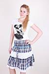 Легкая женская юбка модного кроя в клетку, фото 5