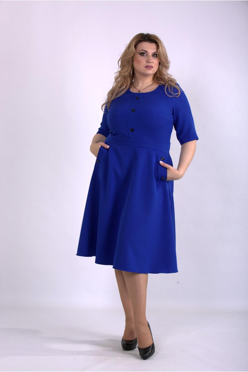 Платье женское офисное электрик большой размер 42-74. 01148-2