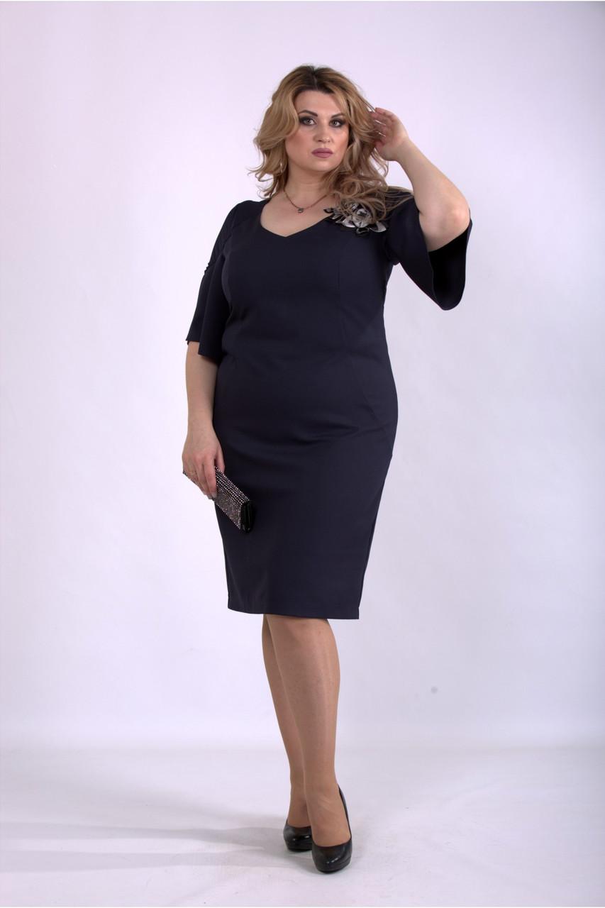 Темно синее платье стильное офисное большого размера из костюмки 42-74. 01150-1