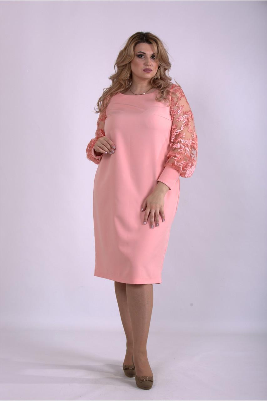 Розовое платье нарядное с прозрачными рукавами большого размера 42-74. 01152-2