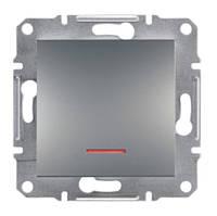 Выключатель одноклавишный с подсветкой сталь Asfora Schneider electriс EPH1400162