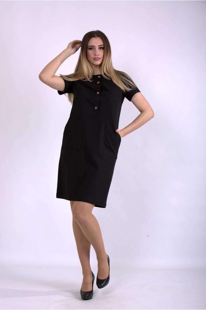 Черное льняное платье летнее прямое большого размера 42-74. 01153-1