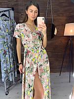 Пудровое женское платье с цветочно-фруктовым принтом