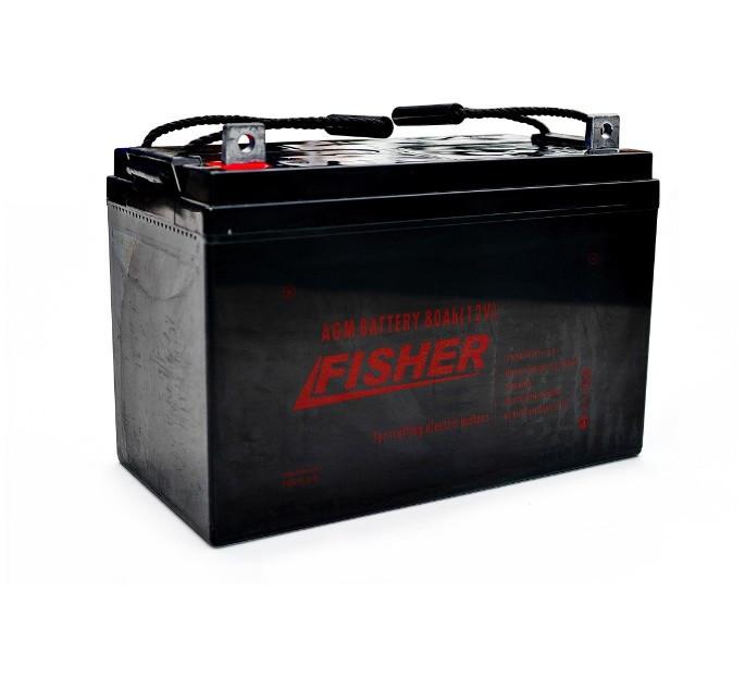 AGM аккумулятор для лодочного электромотора 80Ah Fisher 12B
