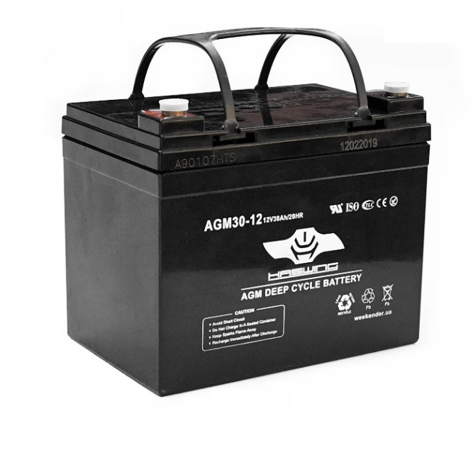 AGM аккумулятор для лодочного электромотора Haswing 30Ah 12V 9.1 кг черный 30Ah agm H