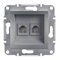 Розетка телефонна подвійна сталь Asfora Schneider еlectric EPH4200162