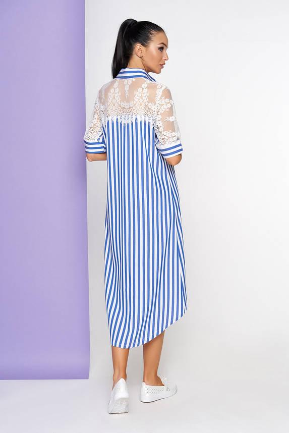 Летнее платье рубашка в полоску голубое, фото 2