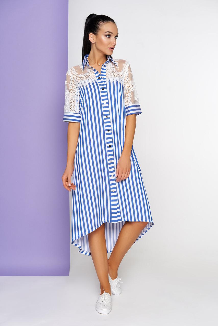 Летнее платье рубашка в полоску голубое