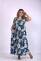 b35aec1b939f2a6 ... больших размеров женское летнее батальное шифоновое однотонное  бирюзовое 56. В наличии. 440грн. 01157-3 | Длинное платье с цветами большой размер  42