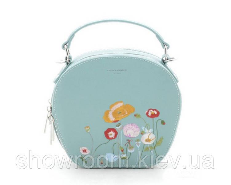 Женская стильная сумка с вышивкой David Jones (765) салатовый