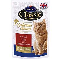 Butcher`s Cat Delicious корм для кошек, говядина, пауч, 100 г