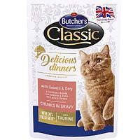 Butcher`s Cat Delicious корм для кошек, лосось и дори, пауч, 100 г
