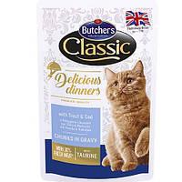 Butcher`s Cat Delicious корм для кошек, форель и треска, пауч, 100 г