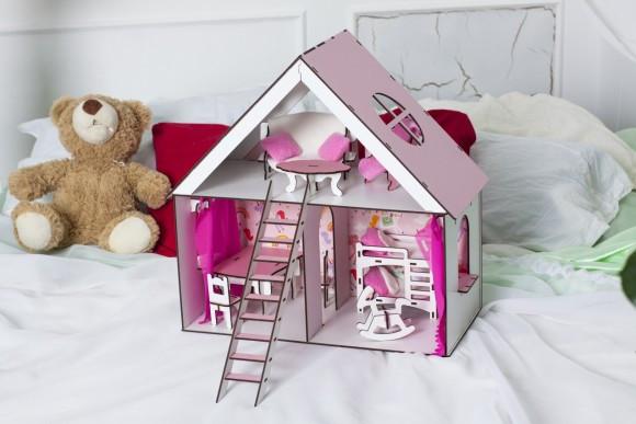 Крашеный кукольный домик для LOL LITTLE FUN с мебелью, шторками, обоями, текстилем и лестницей