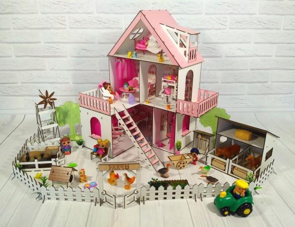 Фарбований ляльковий будиночок Сонячна Дача з Фермою, шпалерами, шторками, меблями і текстилем